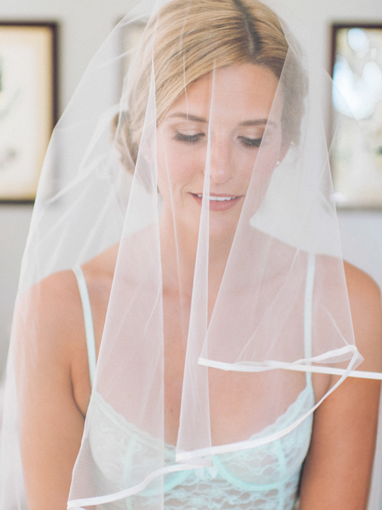 simple ribbon edged wedding veil