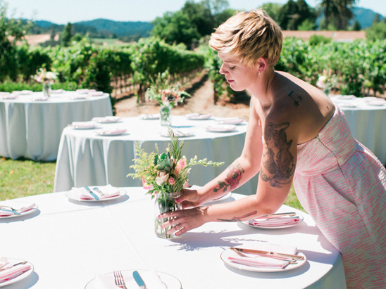 maid of honor Molly O'brien created all of the days floral arrangments