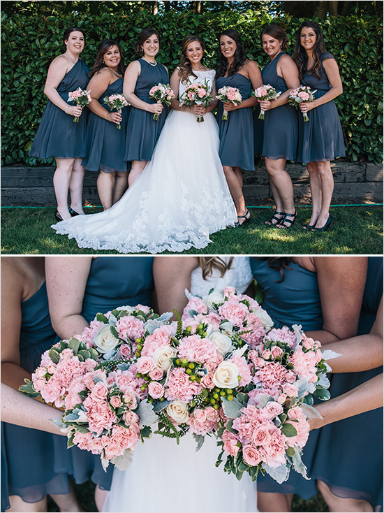 pink and gray bridesmaid ideas
