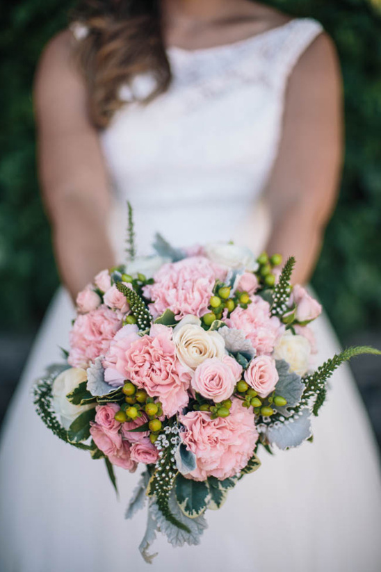 pink and green bouquet by Paisley Petals