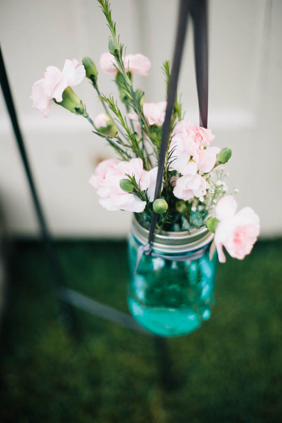 hanging flowers in mason jars