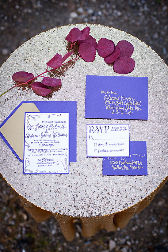 purple and gold wedding stationery