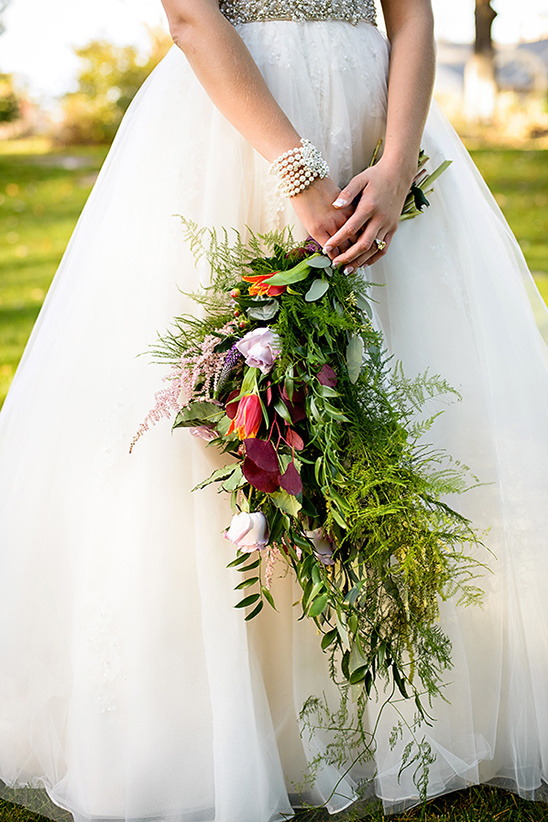cascading floral and greenery bouquet