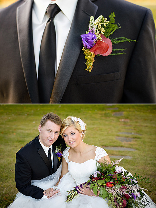 purple and red boutonniere
