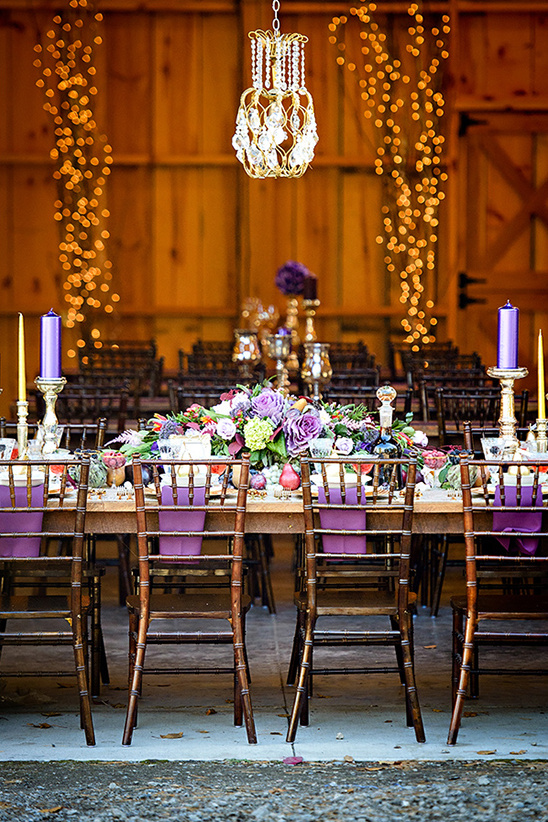 rustic purple reception layout