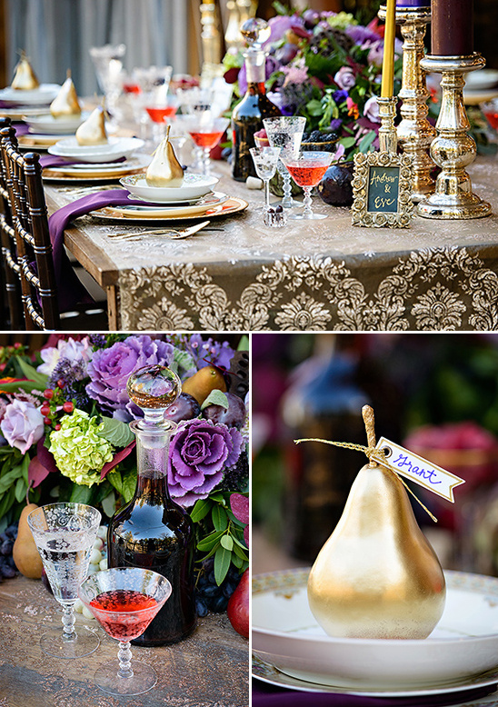 gold pear place cards