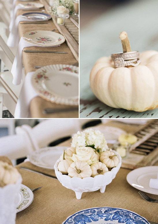 mini pumpkin centerpieces and mismatched china
