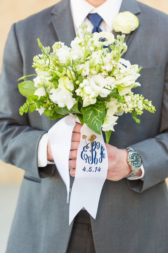 monogrammed sash wrapped bouquet