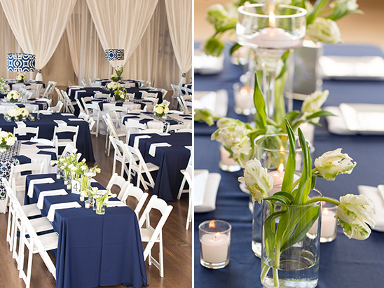 navy and white wedding reception