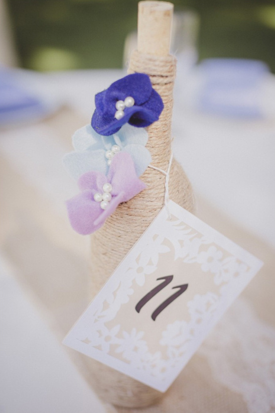 twine wrapped bottle table numbers