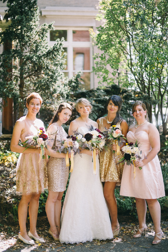 lovely bridal party in pink and gold