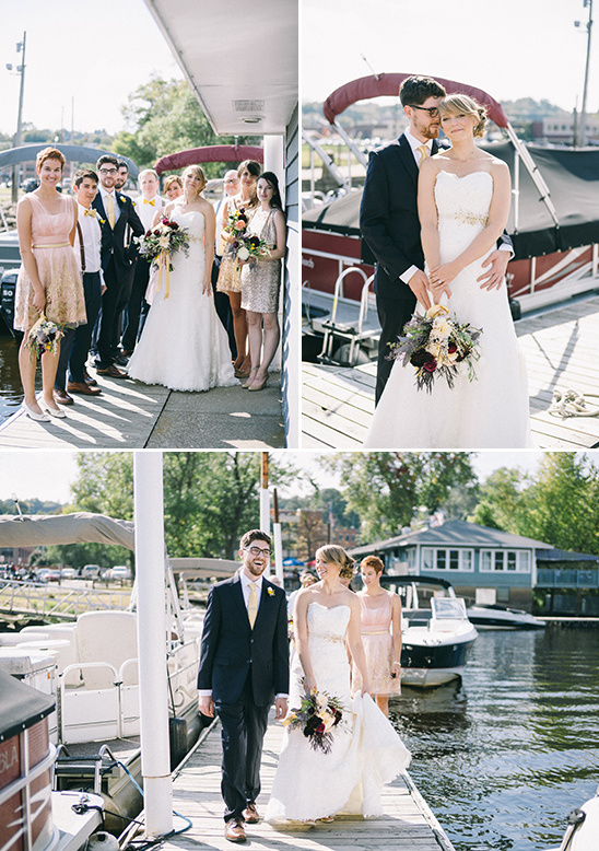 boat dock wedding party