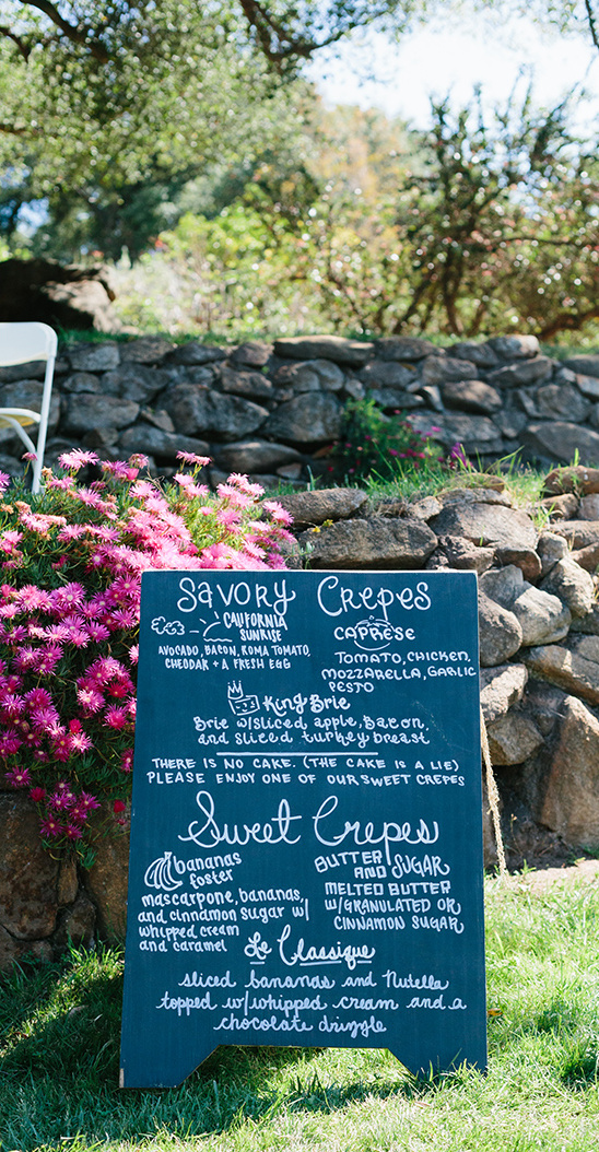 crepes wedding menu