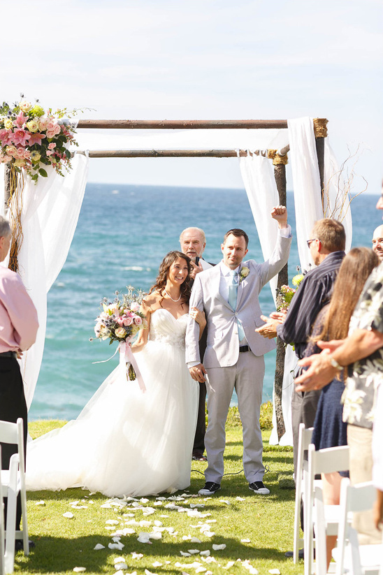 just married by the beach