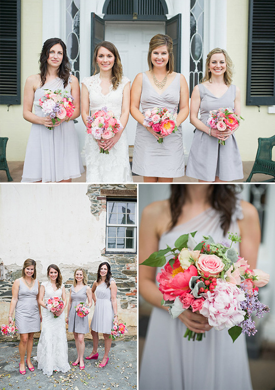 heather gray bridesmaids with hot pink accessories
