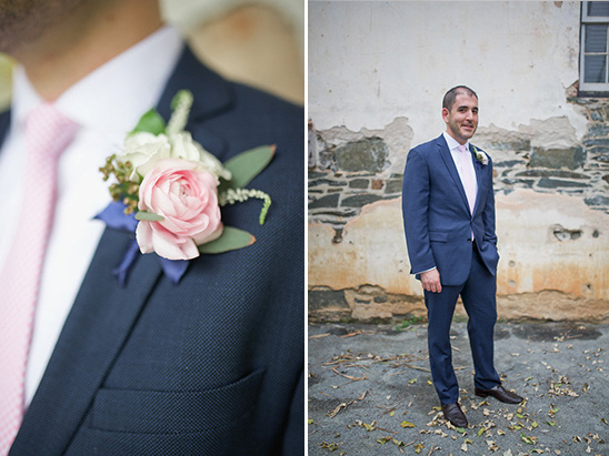 navy and pink grooms look