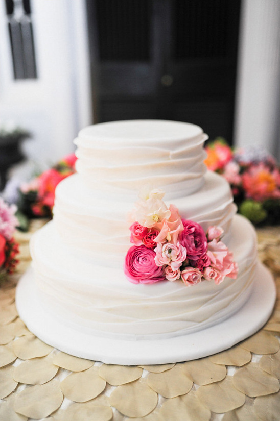 ruffled wedding cake by Windows Catering