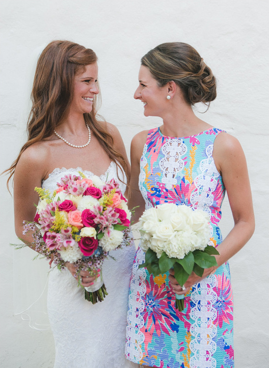 Bridesmaid in Lilly Pulitzer dress