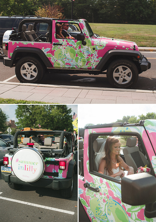rad Lilly Pulitzer print wrapped wedding Jeep