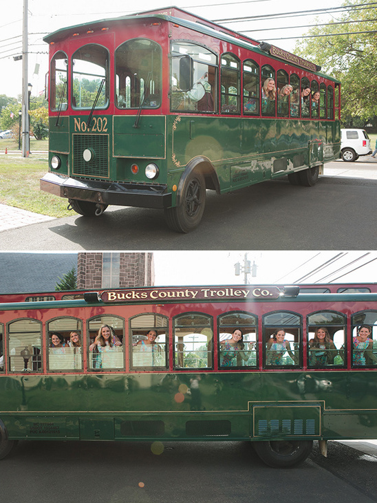 trolly wedding transportation