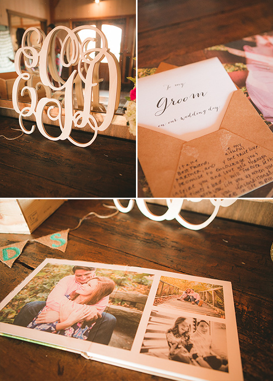 guestbook table with wooden monogram