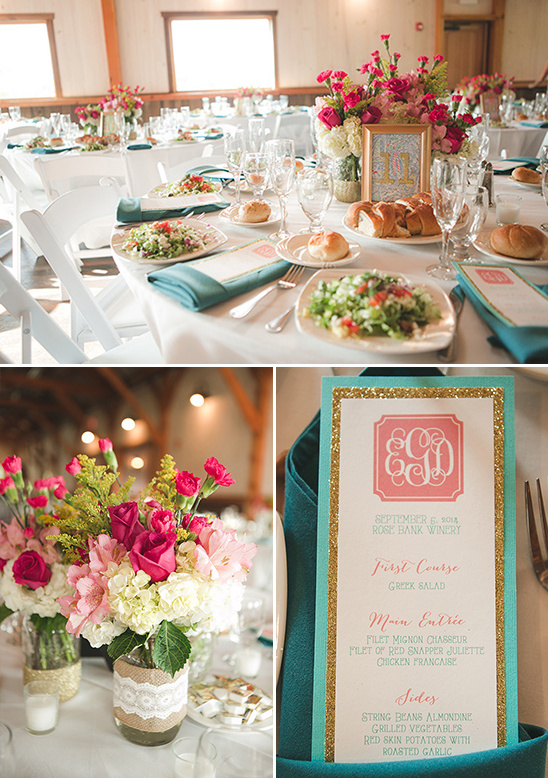 rustic glam pink teal and gold table decor