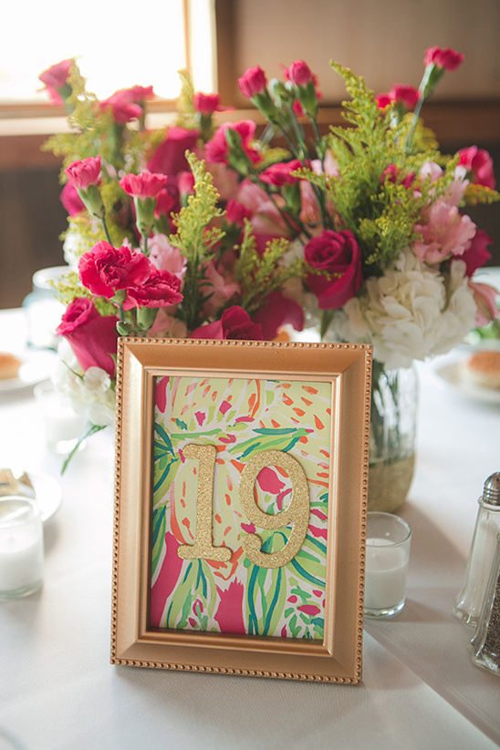 Lilly Pulitzer themed table numbers