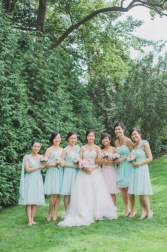 mint and blush bridesmaids dresses