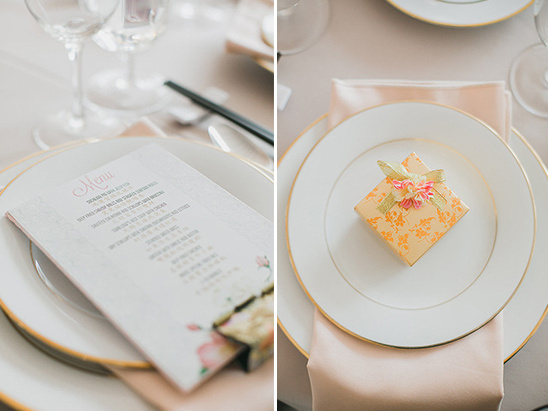 ivory and blush menu and favors