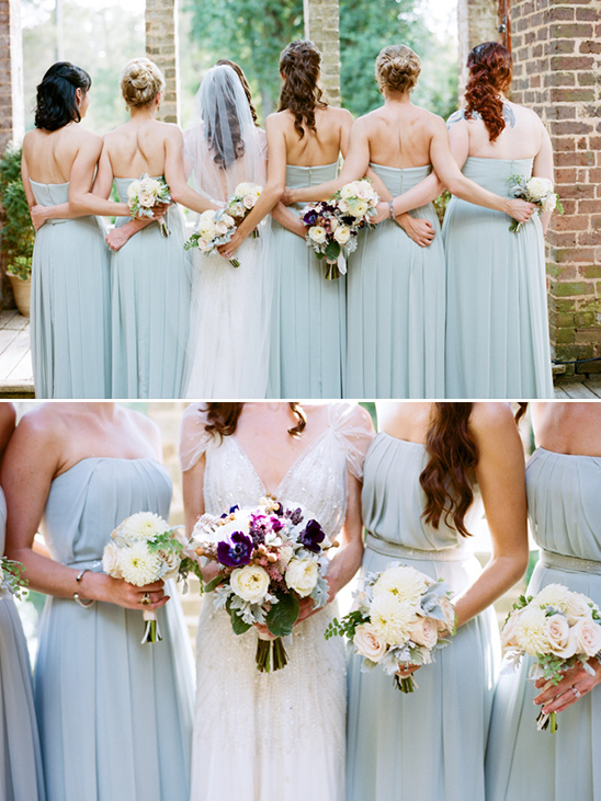 bridesmaids hairstyles and bouquets