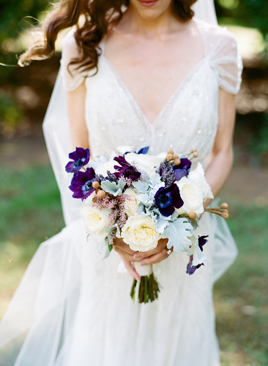 violet and white wedding bouquet