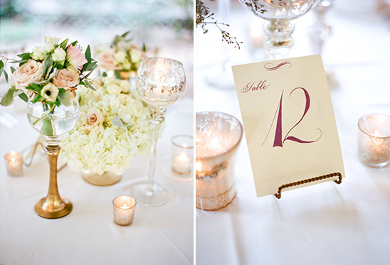 gold and white centerpieces