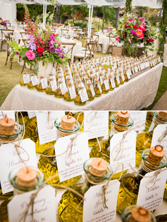 olive oil wedding favor and escort cards