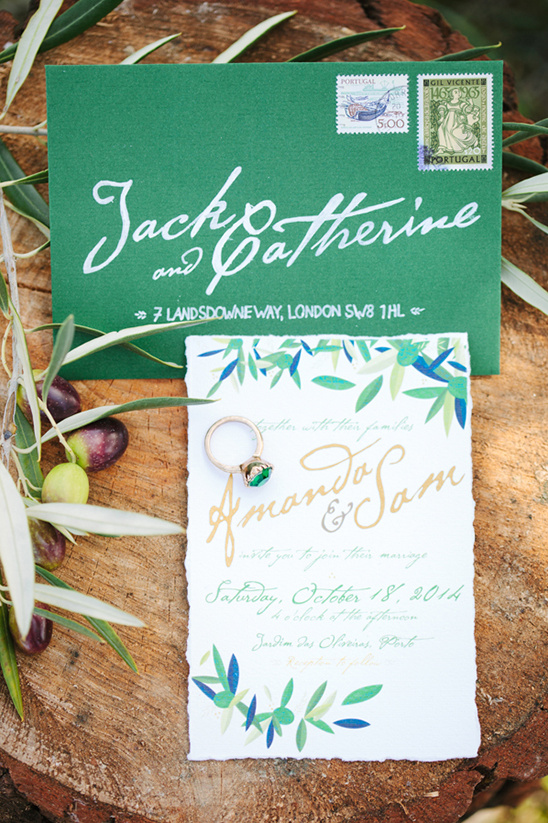 green and gold olive inspired invites