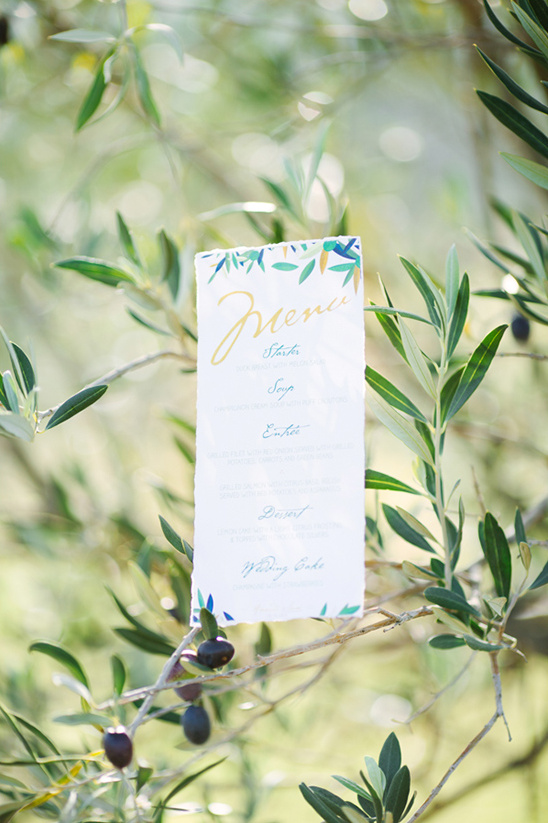 olive leaf inspired wedding menu