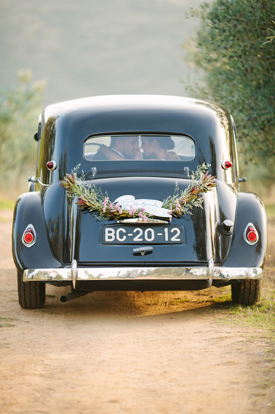 antique wedding getaway car