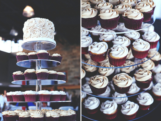 rose frosted wedding cupcakes