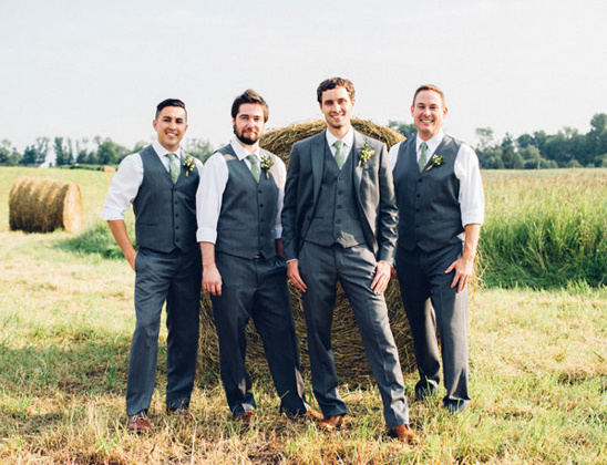 charcole and green groomsmen