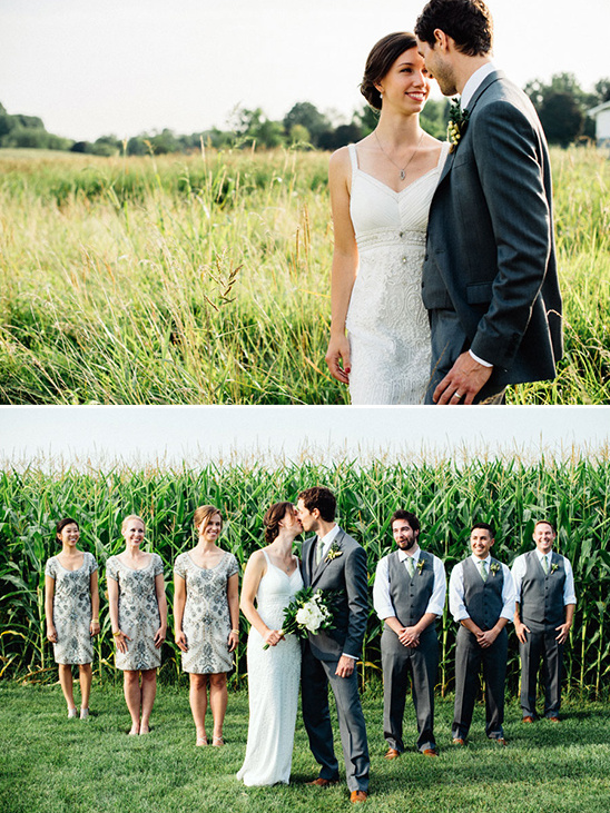 silver and grey wedding party