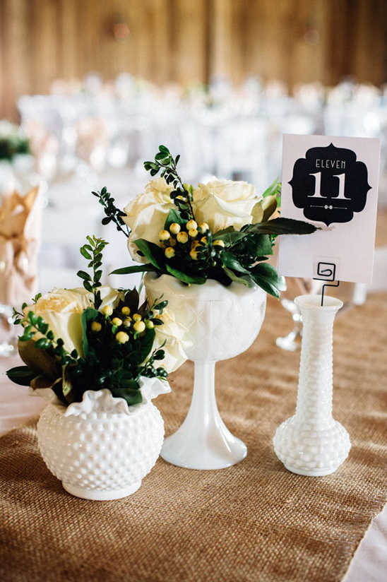 Blog milk glass inspired wedding - Glass vases for wedding table decorations ...