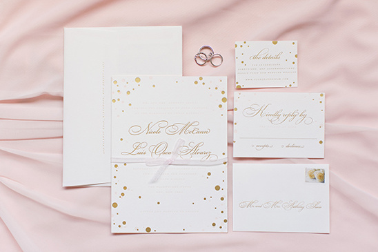 gold dot wedding stationery