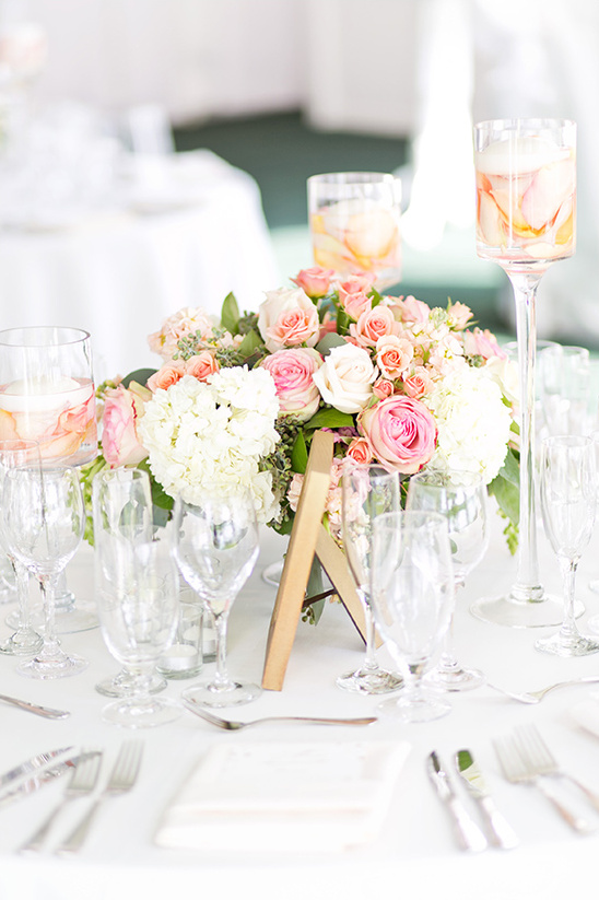 pink and peach rose centerpieces