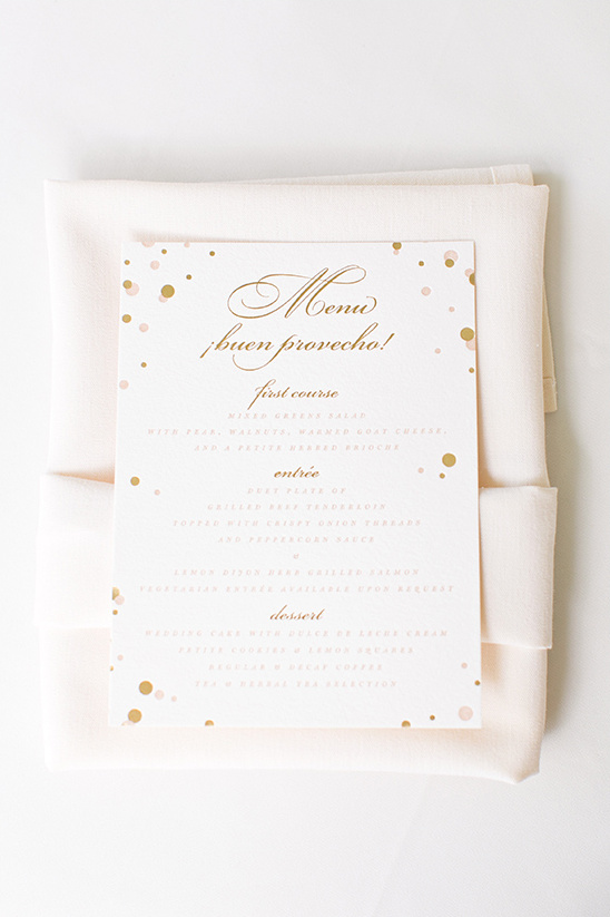 gold and pink dotted stationery