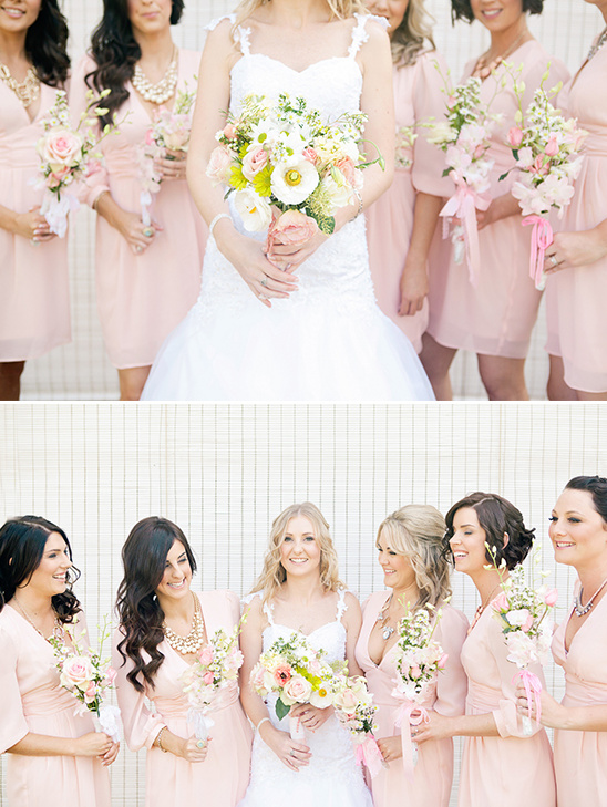 long sleeve pink bridesmaid dresses