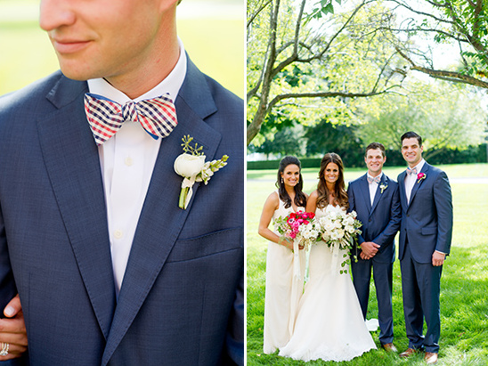navy and checkered bow tie groom look