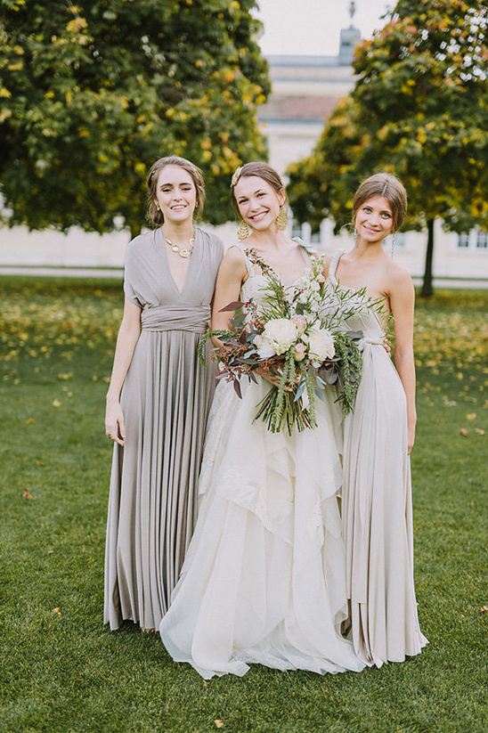 light silver bridesmaids dresses