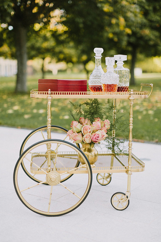 vintage gold drinks cart