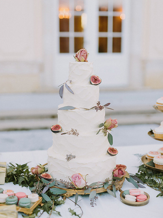 5 tier white wedding cake