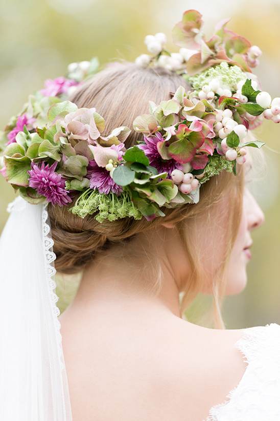 light purple and green floral crown