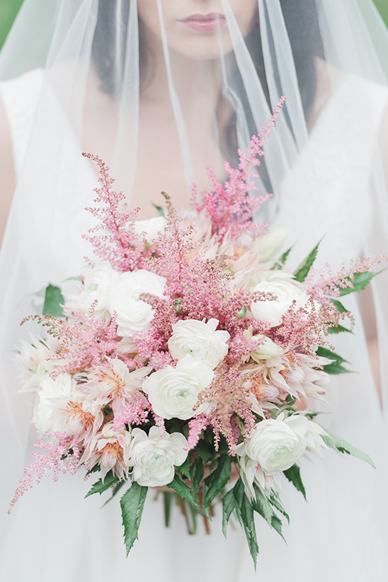 pink and white winter bouquet